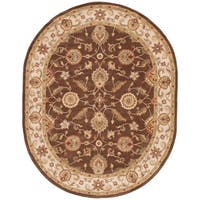 Lucina Handmade Floral Brown/ Gold Area Rug (8' X 10') Oval - 8' x 10'