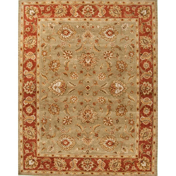 Della Handmade Floral Taupe/ Red Area Rug (2' X 3')