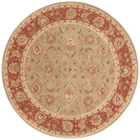Della Handmade Floral Taupe/ Red Area Rug (10' X 10') - 10' x 10' Round