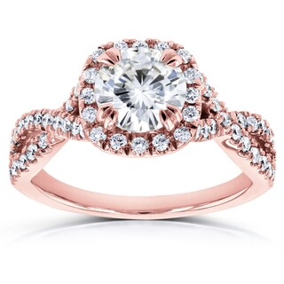 Annello by Kobelli 14k Gold 1 1/2ct Round Moissanite (HI) and Diamond Halo Twist Shank Engagement Ring (More options available)