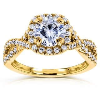 Annello by Kobelli 14k Gold 1ct Round Moissanite and 1/2ct TDW Diamond Halo Twist Shank Engagement R