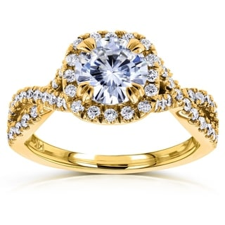 Annello 14k Gold Round-cut Moissanite and 1/2 ct TDW Bezel-set Diamond Engagement Ring (G-H, I1-I2)