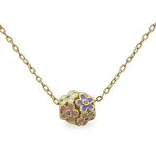 Junior Jewels Gold Overlay Children's CZ and Enamel Flower Slider Necklace