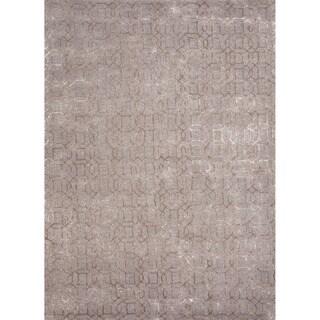 Foster Handmade Geometric Gray/ Tan Area Rug - 2' x 3'