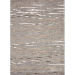 Hand-tufted Contemporary Lined Grey/ Ivory Area Rug (5' x 8')