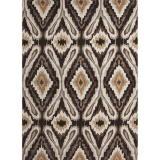 Hand-tufted Transitional Tribal Pattern Gray/ Black Rug (2' x 3')