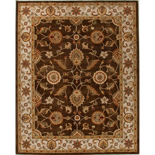 Hand-tufted Traditional Oriental Pattern Brown Rug (2'6 x 4')