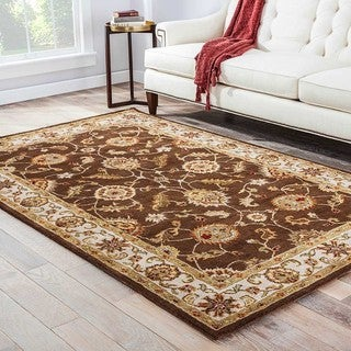Lucina Handmade Floral Brown/ Gold Area Rug (4' X 8')