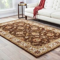 Lucina Handmade Floral Brown/ Gold Area Rug - 4' x 8'