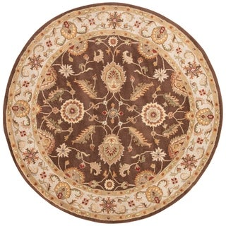 Lucina Handmade Floral Brown/ Gold Area Rug (8' X 8')
