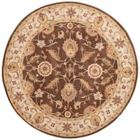 Lucina Handmade Floral Brown/ Gold Area Rug (8' X 8') - 8' x 8'