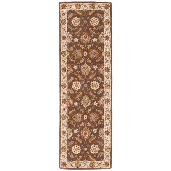 Lucina Handmade Floral Brown/ Gold Area Rug (3' X 12')