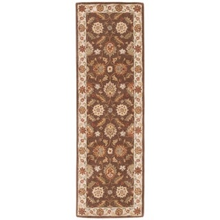 Lucina Handmade Floral Brown/ Gold Area Rug (4' X 16')