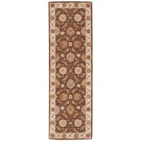 Lucina Handmade Floral Brown/ Gold Area Rug (4' X 16') - 4' x 16'