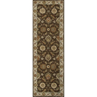Hand-tufted Traditional Oriental Pattern Brown Rug (2'6 x 6')