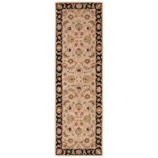 Skylar Handmade Floral Beige/ Black Area Rug (3' X 12')