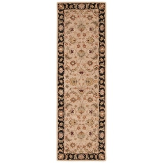 Skylar Handmade Floral Beige/ Black Area Rug (4' X 16')