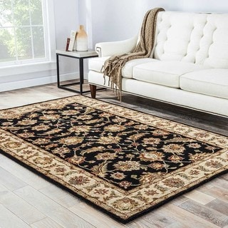 Hand-tufted Traditional Oriental Gray/ Black Rug (12' x 18')