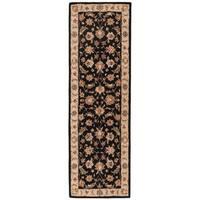 Skylar Handmade Floral Black/ Beige Area Rug (3' X 12')