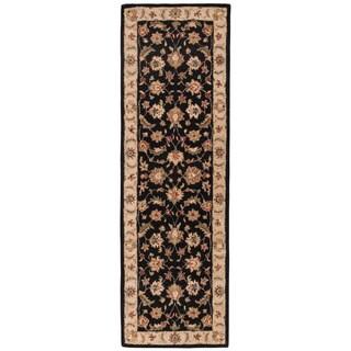 Skylar Handmade Floral Black/ Beige Area Rug (4' X 16') - 4' x 16'