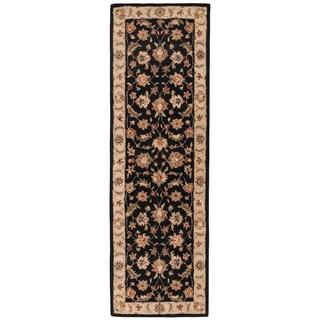 "Skylar Handmade Floral Black/ Beige Area Rug (2'6"" X 6')"