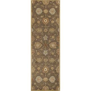 "Savani Handmade Floral Brown/ Multicolor Area Rug (2'6"" X 8')"