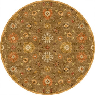 Hand-tufted Transitional Oriental Pattern Brown Rug (10' Round)