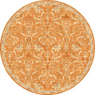 Hand-tufted Transitional Oriental Pattern Red/ Orange Rug (8' Round)
