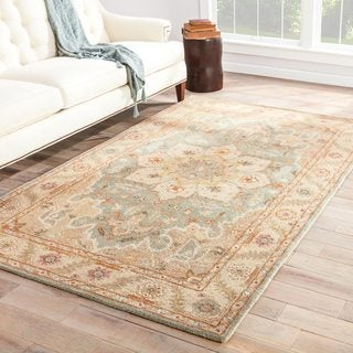 Hand-tufted Traditional Oriental Pattern Blue Rug (2' x 3')