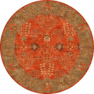 Hand-tufted Transitional Oriental Pattern Red/ Orange Rug (10' Round)