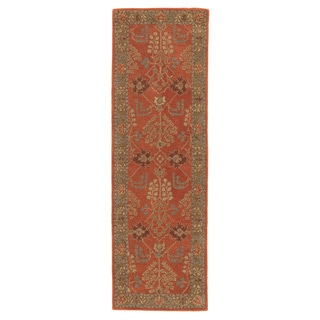 "Chantilly Handmade Floral Orange/ Brown Area Rug (2'6"" X 12')"