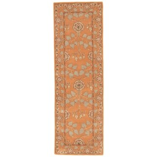 "Juliette Handmade Floral Orange/ Taupe Area Rug (2'6"" X 8')"