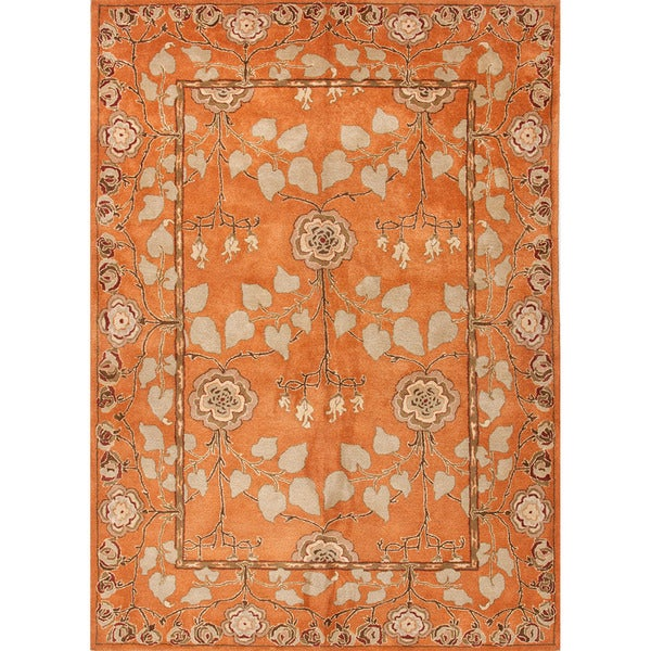 Hand-tufted Transitional Oriental Red/ Orange Rug with Plush Pile (8' x 11')