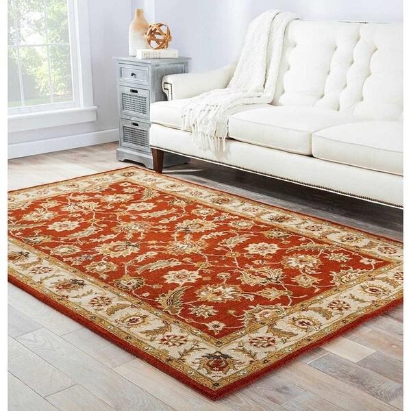 Skylar Handmade Floral Red/ Gold Area Rug (5' X 8') - 5' x 8'