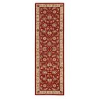Skylar Handmade Floral Red/ Gold Area Rug (3' X 12') - 3' x 12'