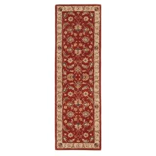 Skylar Handmade Floral Red/ Gold Area Rug (4' X 16')