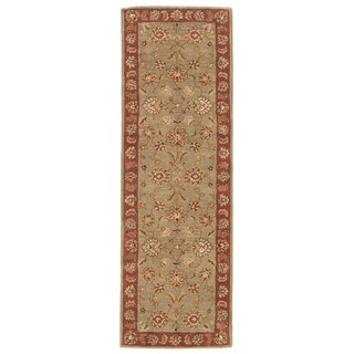 "Della Handmade Floral Taupe/ Red Area Rug (2'6"" X 8')"