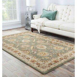 Hand-tufted Traditional Oriental Pattern Green Rug (12' x 18')