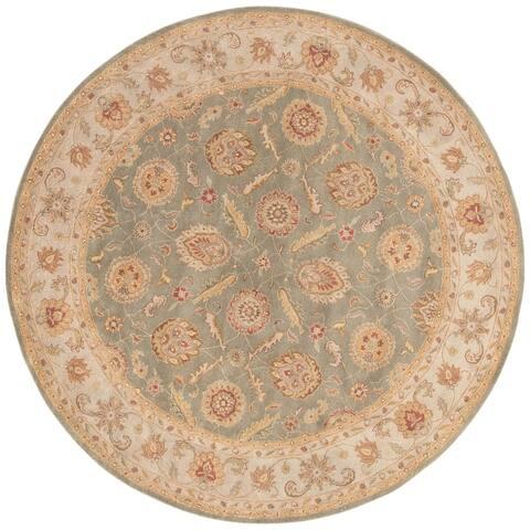 Freya Handmade Floral Green/ Beige Area Rug (10' X 10') - 10' x 10' Round