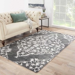 Iris Hand-Knotted Medallion Gray/ Black Area Rug (8' X 11')