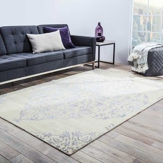 Iris Hand-Knotted Medallion Silver/ Ivory Area Rug (9' X 13')