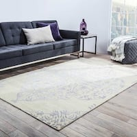 Maison Rouge Barton Hand-knotted Medallion Silver/Ivory Accent Rug - 2' x 3'