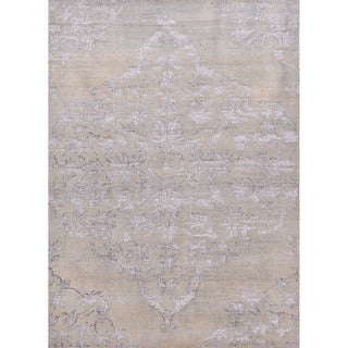 Hand-knotted Transitional Tone On Tone Gray/ Black Rug (2' x 3')