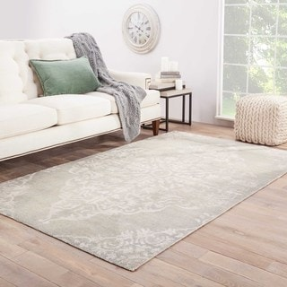 Iris Hand-Knotted Medallion Silver/ Blue Area Rug (5' X 8')