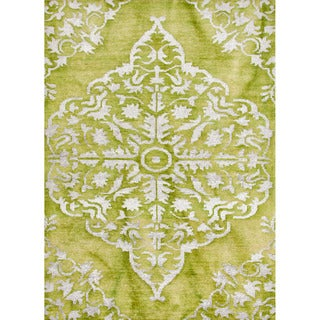 Hand-knotted Transitional Tone On Tone Pattern Green Rug (8' x 11')
