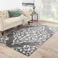 Maison Rouge Barnard Hand-knotted Medallion Grey/ Black Area Rug (5' x 8')
