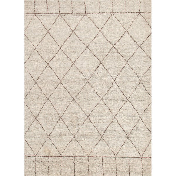 Hand-Knotted Tribal White Area Rug - 5' x 8'