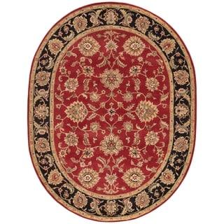 Della Handmade Floral Red/ Multicolor Area Rug (8' X 10' OVAL)