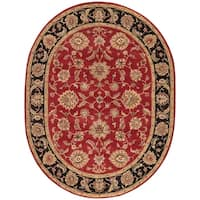 Della Handmade Floral Red/ Black Area Rug (8' X 10') Oval