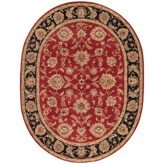 Della Handmade Floral Red/ Black Area Rug (8' X 10') Oval